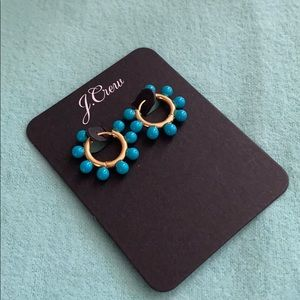 J. Crew Jewelry - J. Crew fun turquoise and gold hoop earrings.